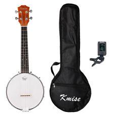 Kmise 4 String Banjo Ukulele Uke Concert Banjo 23 Inch Sapelli W/Gig Bag Tuner