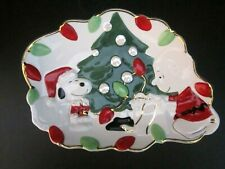 """Lenox Peanuts Snoopy's Christmas Canape Serving Plate 2004. Charlie Brown. 11x8"""""""