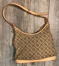 Vintage Dooney & Bourke Monogram Satchel Handbag Leather Canvas Red/tan Handle