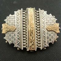 Vintage Antique Silver Yellow Gold Sweetheart Brooch 1890 - 1910s