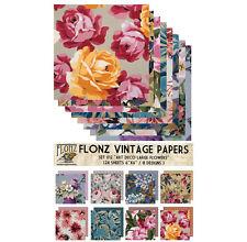 """Paper 24sh 6""""x6"""" # Large Flowers Art Deco Vintage # FLONZ Craft Scrapbooking 012"""