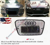 Black Front RS5 Style Honeycomb Mesh Grill Grille For 13-16 Audi A5 S5