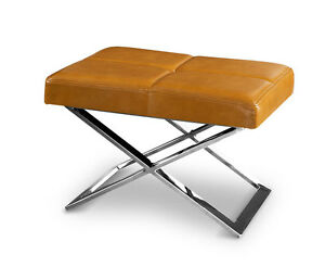 Amazing Bauhaus ottoman stool real leather & polished X legs.(Tan brown leather)
