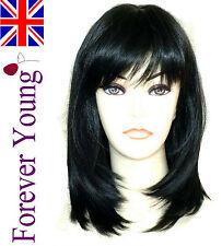 Ladies Medium Short Black Wig Hair New Season Razor Cut Fashion Wig