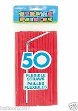 Unique Party Flexible Red Plastic Straws Pack of 50