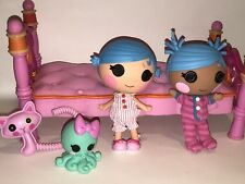 LALALOOPSY MGA 2011 SEW CUTE BED & DOLLS LOT Pets Cat Octopus 2012 Doll Toys