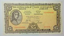 IRELAND: IRISH   LAVERY FIVE  POUND NOTE DATED  26.5.1974.  FREE SHIPPING
