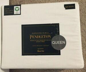 Pendleton Bright White 100% Organic Cotton 4 Piece Queen Sheet Set NWT