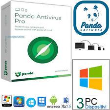 Panda Antivirus PRO 2017 1 ANNO / 3PC / ORIGINALE E REGISTRABILE A NOME TUO