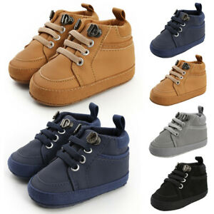 0-18M Toddler Baby Girls Boys Solid Lace-Up First Walkers Kids PU Shoes Boots UK