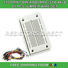 270 Point Breadboard SYB-46 & 65pcs Jumper Wire Solderless PCB Prototyping NEW