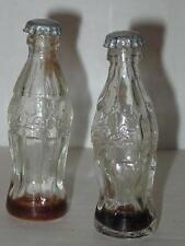 "1960's Mini Set of 2 Coca Cola Bottles Still Capped (Evaporated) 2 3/8"" Coke"