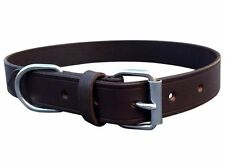 HAND-CRAFTED BROWN SOFT REAL LEATHER DOG COLLAR TRAINING MEDIUM LARGE SPANIEL