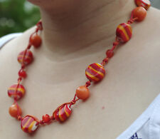 "Orange Knotted String Bead Necklace with jade, carnelian amber and glass. 22.5""+"