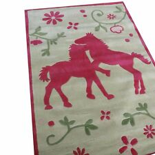 Tapis amateurs de chevaux 80x150 cm beige rose handtuft kinderpielteppich