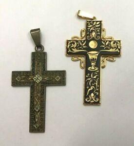 Lot 2 Pendants Crucifix Antique IN Metal Golden REF64342