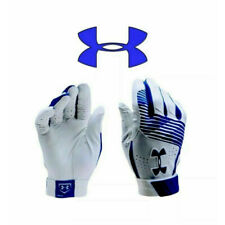 Under Armour Men's Baseball Batting Gloves - UA Clean Up - White / Blue - M L XL