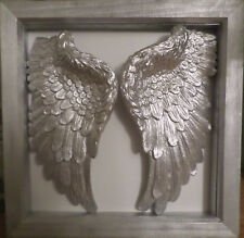 Framed Hand Made Plaster Angel Wings Wall Art Shabby Chic Memorial (SWB)
