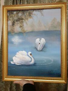 Vintage Folk Art Primitive Oil Painting of Two Swans Landscape Framed Signed