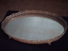 New listing Vintage Filigree Mirror Tray Gold Ornate Mid Century Hollywood Regency