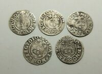 Set 5 pcs. European Medieval Era SILVER coins 1/24 thaler 1621-25 years #2674
