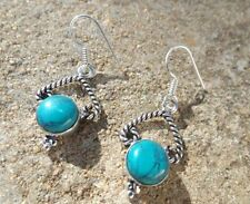 Turquoise Silver Earring Indian Jewellery