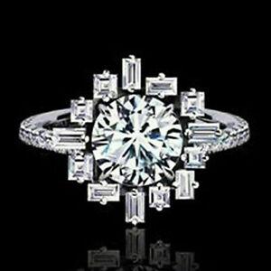 14K White Gold 1.32 Ct Diamond Sunburst Engagement & Wedding Breathtaking Ring