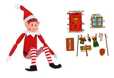 Christmas Elf Naughty Or Nice Soft Toy Doll Advent Shelf Fun + Wall Stickers Set