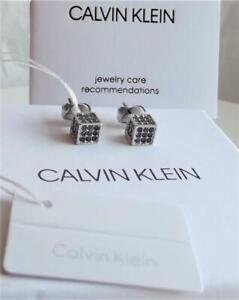 CALVIN KLEIN STAINLESS STEEL BLACK CRYSTAL SMALL CUBE EARRINGS BNWT BOXED £75