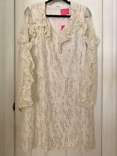 lily pulitzer Belle Flounce Silk Dress. Coconut Fish clip Chiffon.