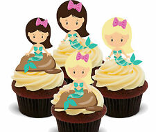 Sweet Little Mermaids Edible Cup Cake Toppers, Standup Fairy Decorations Girl