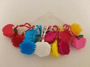 12 Plastic Apple Brush & Mirror Girls Backpack Clip-Ons Gifts Stocking Stuffers