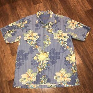 TOMMY BAHAMA Hawaiian Shirt Floral Print Camp SILK Button Blue MENS MEDIUM