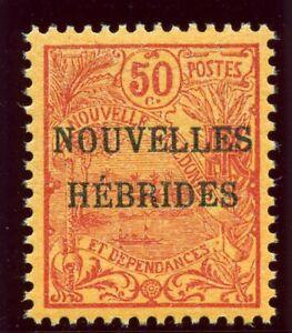 New Hebrides - French 1908 KEVII 50c red/orange superb MNH. SG F4. Sc 4.