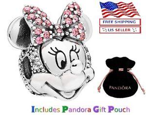 Authentic S925 Silver PANDORA Disney Minnie Mouse Pavé Clip Charm 797496CZS