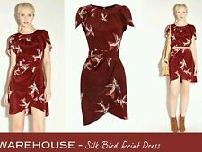 warehouse  swallow print silk dress size 10