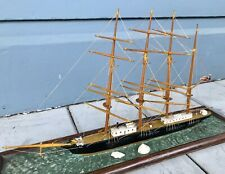 Antique Vintage Wooden Model 4 Masted Sailing Ship Whaler At Sea Diorama