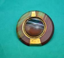 Victorian Scottish 10 ct gold banded agate cabochon brooch beautiful item 42 mm