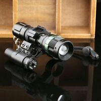 Durable Red Dot Laser Sight Scope Mount Adjustable Zoom LED Flashlight Torch