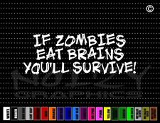 Zombie #5 Eat Brains Funny Cute Scary Gothic Evil Car Decal Window Vinyl Sticker