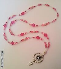 Rose Pinks & Clear ID Badge Holder Tag HANDMADE Beaded Lanyard Fashion Necklace