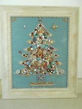 Costume JEWELRY CHRISTMAS TREE framed PEARLS RHINESTONE GOOD CONDITION vintage