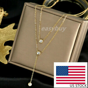 Woman Fashion 18K Gold Plated Stainless Steel Double Layers CZ Necklace Chain