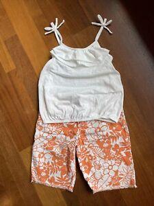 Gymboree Tropical Bloom Floral Fringe Shorts & Old Navy White Ruffle Tank 10 12