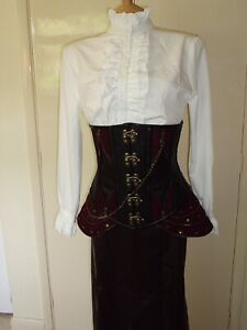 BNWT BROWN FAUX LEATHER STEAMPUNK PIRATE RED PANNIER CORSET 28 IN WAIST  12 14
