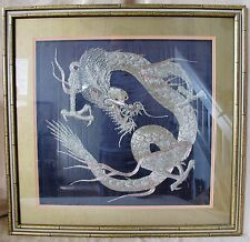 """27.7"""" Framed Japanese Fabric Panel w/ Gold Thread Embroidery of Celestial Dragon"""