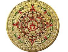 Goldene Medaille Münze Color farbig Maya Kalender Azteken Sonnenscheibe Neu