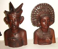 PAIR OF WOMAN AND MAN KLUNGKUNG BALI HARD WOOD CARVED SCULPTERED BUST