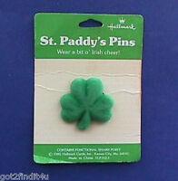 Hallmark PIN St Patrick Vintage SHAMROCK FLOCKED Irish Holiday Brooch NEW*