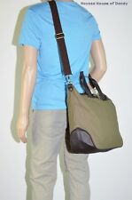 Mens Tote Plain Canvas Casual Full Size Messenger Shoulder Bag(3162) - Green
